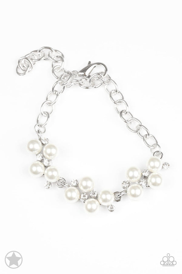 Jazzi Jewelz Boutique-I Do-White Pearl with Rhinestone Accent Silver Clasp Bracelet