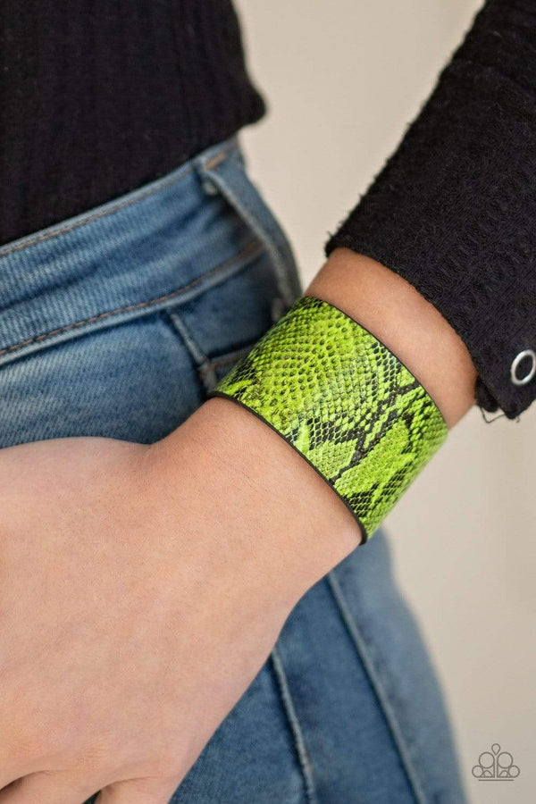 Jazzi Jewelz Boutique-It's A Jungle Out There-Green Python Print Leather Wrap Bracelet
