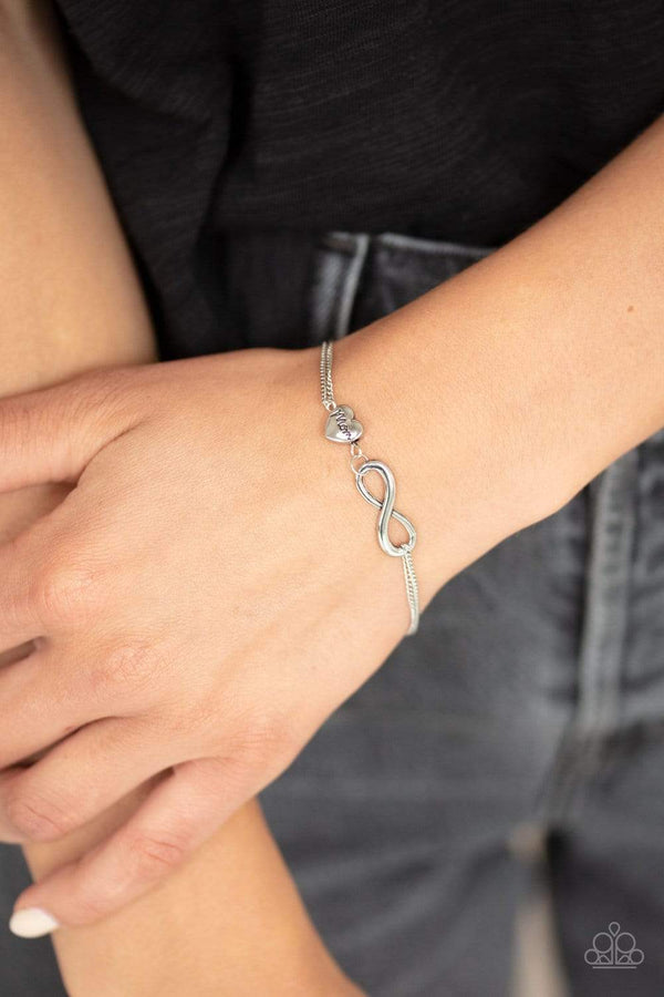 Jazzi Jewelz Boutique-Purest Love-Silver Mom Stamped Heart & Infinity Bracelet