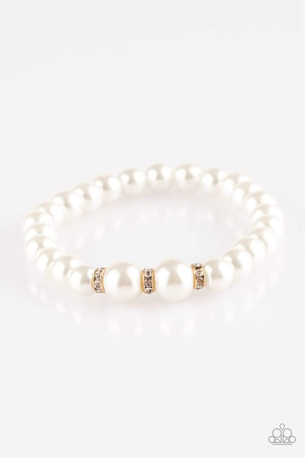 Jazzi Jewelz Boutique-Radiantly Royal-White Pearl Stretch Bracelet