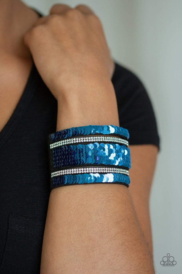Jazzi Jewelz Boutique-Mermaid Service-Pink & Blue Sequin Rhinestone Wrap Snap Bracelet