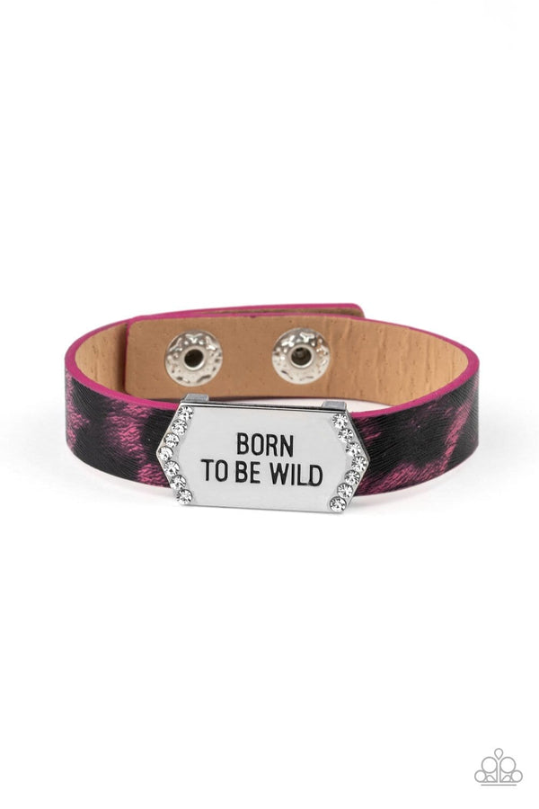 Paparazzi Accessories Jewelry bracelets Paparazzi Accessories-Born To Be Wild-Pink and Black Cheetah Print Wrap Snap Bracelet