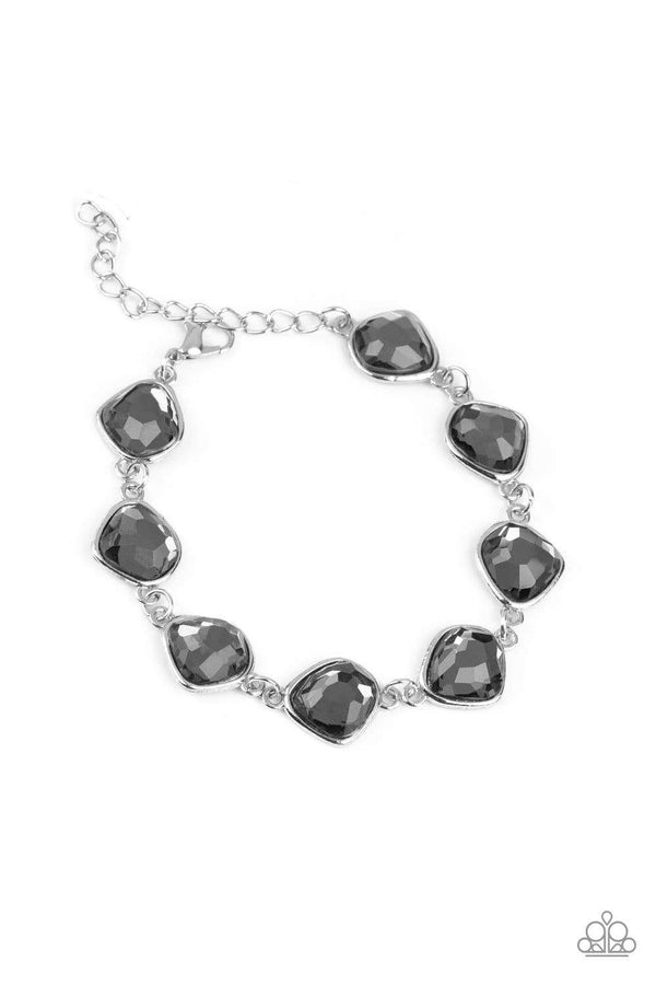 Jazzi Jewelz Boutique-Perfect Imperfection-Smoky Rhinestone Silver Clasp Bracelet