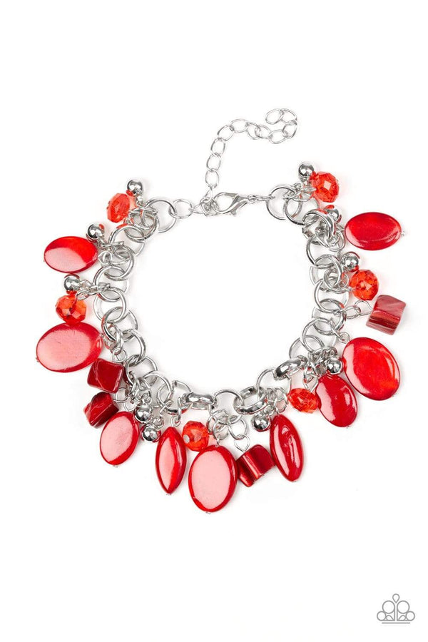 Jazzi Jewelz Boutique by Raven-Seashore Sailing-Red Shell Like Bead Silver Bracelet