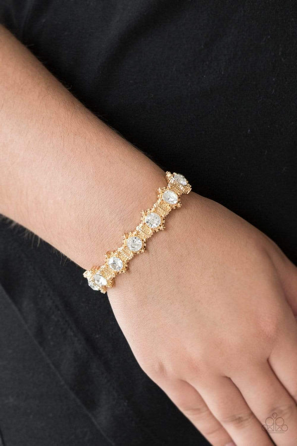 Jazzi Jewelz Boutique-Strut Your Stuff-Gold Rhinestone Accent Bracelet