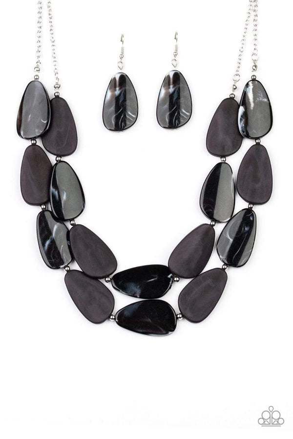 Jazzi Jewelz Boutique-Colorfully Calming-Black Faux Marble Silver Chain Necklace and Earring Set