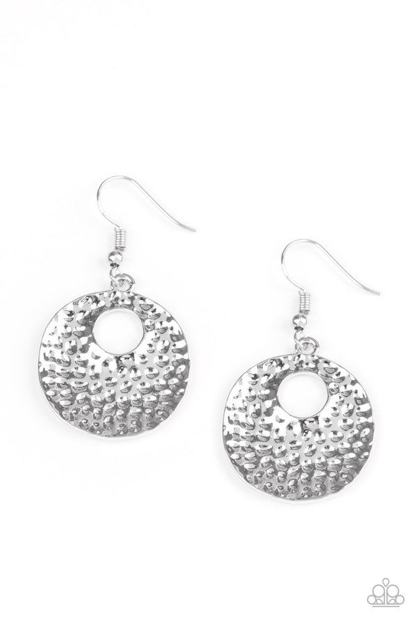 Jazzi Jewelz Boutique- A Taste For Texture Silver Studded Hoop Earrings