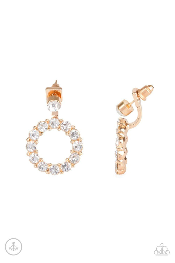 Jazzi Jewelz Boutique-Diamond Halo-Gold Earrings