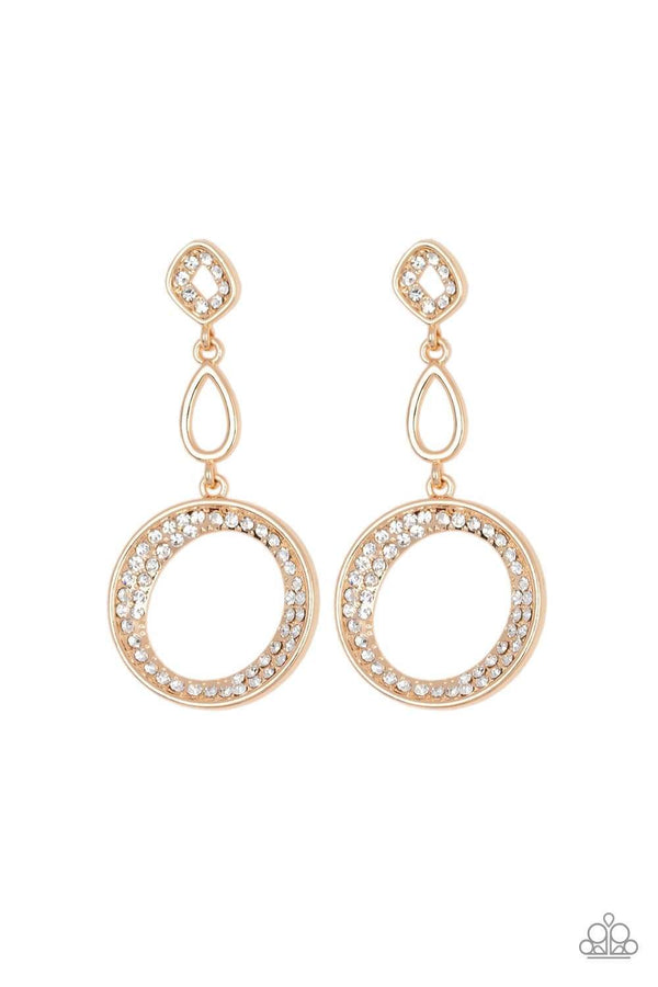 Jazzi Jewelz Boutique-On The Glamour Scene- Gold Earring with Rhinestone Accents