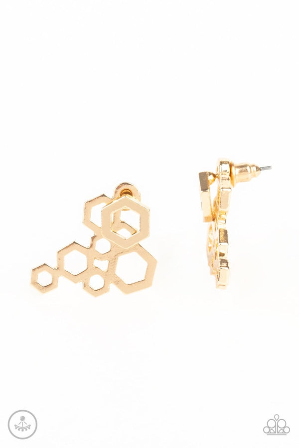 Jazzi Jewelz Boutique-Six Sides Shimmer-Gold Post Earrings