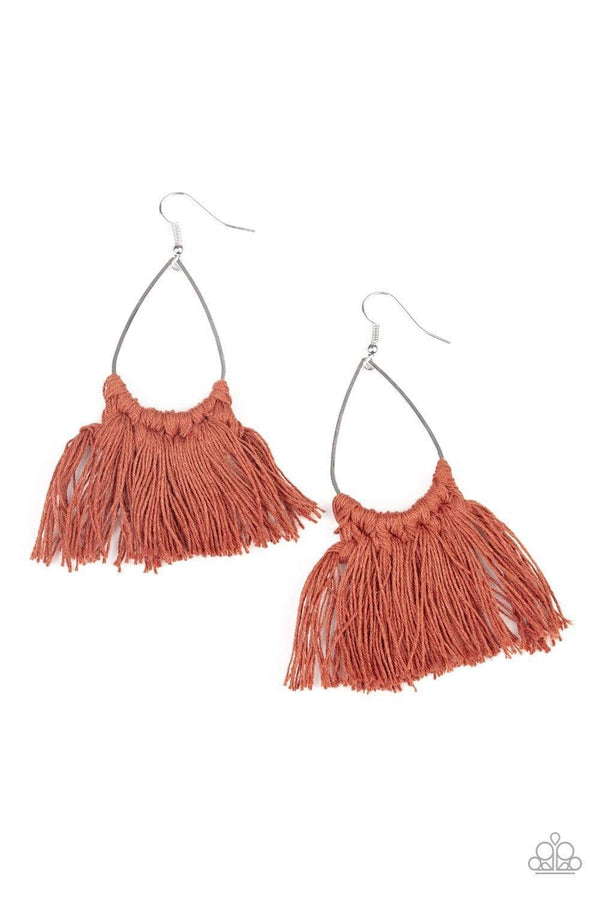Jazzi Jewelz Boutique-Tassel Treat-Brown Thread Tassel Earrings