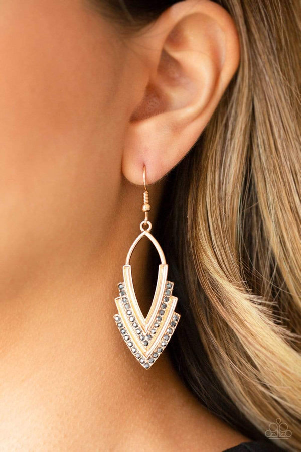 Jazzi Jewelz Boutique-Tour de Force-Gold Smoky Rhinestone Dangle Earrrings