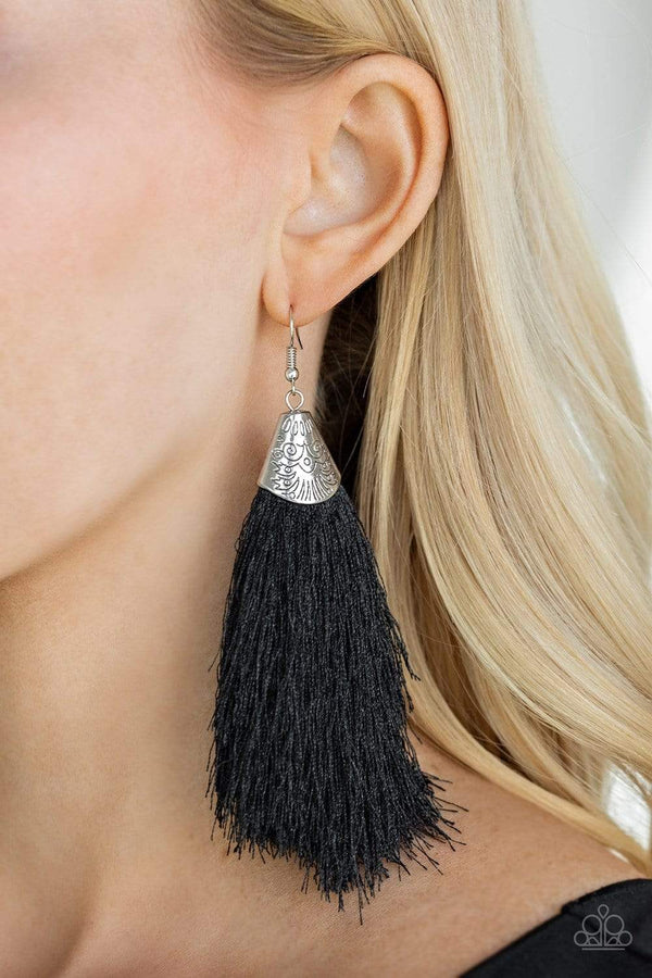 Jazzi Jewelz Boutique-Tassel Temptress-Black Tassel Earrings