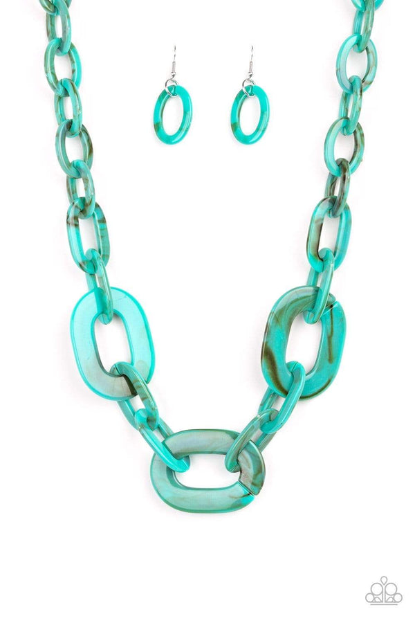 Jazzi Jewelz Boutique by Raven-All In-Vincible-Turquoise Faux Marble Link Necklace and Earring Set