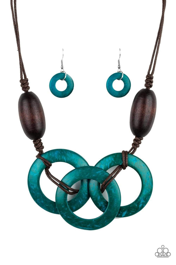 Jazzi Jewelz Boutique by Raven-Bahama Drama-Blue Wooden Hoop Brown Bead Necklace and Earring Set