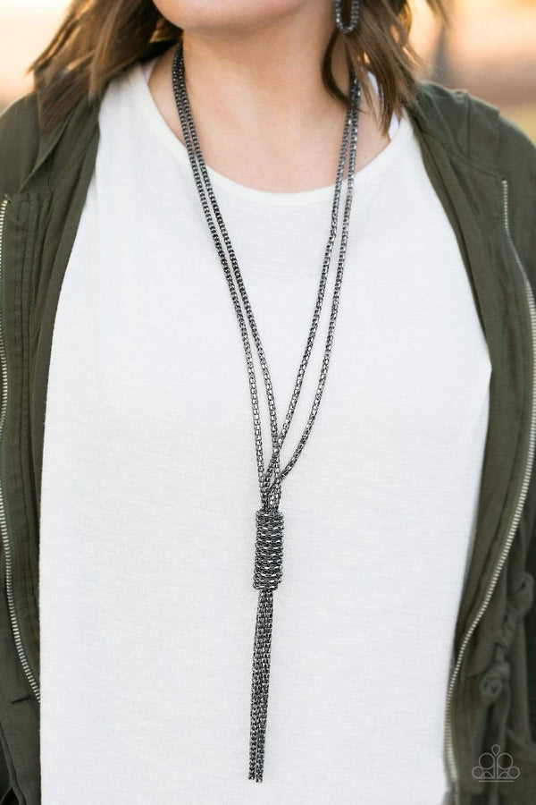 Jazzi Jewelz Boutique-Boom Boom Knock You Out!-Gunmetal Necklace and Earring Set