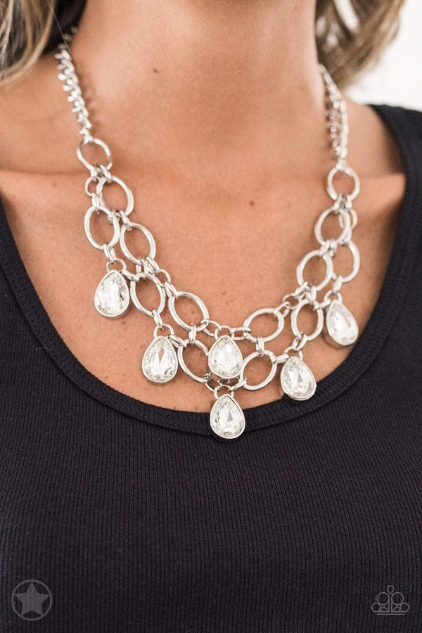 Jazzi Jewelz Boutique-Show Stopping Shimmer-Blockbuster White Teardrop Silver Chain Necklace and Earring Set