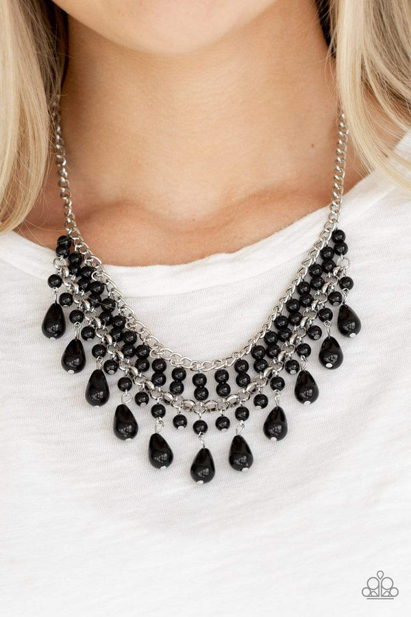 Jazzi Jewelz Boutiuqe-The Guest List-Black Teardrop Bead Necklace and Earring Set