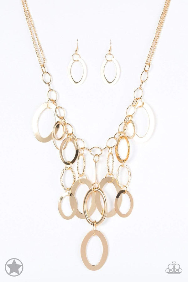 Jazzi Jewelz Boutique by Raven-A Golden Spell-Blockbuster-Gold Tone Rings and Chain Necklace and Earring Set