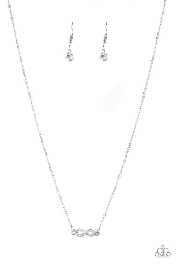 Jazzi Jewelz Boutique-Always A Winner-Rhinestone Infinity Pendant Silver Chain Necklace and Earring Set
