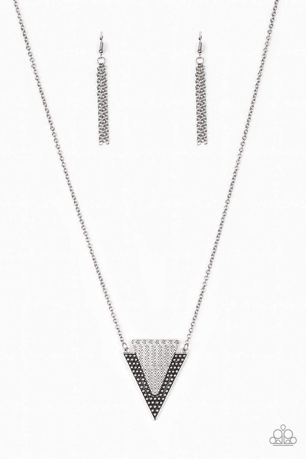 Jazzi Jewelz Boutique by Raven-Ancient Arrow- Silver Studded Triangular Pendant Necklace and Earring Set