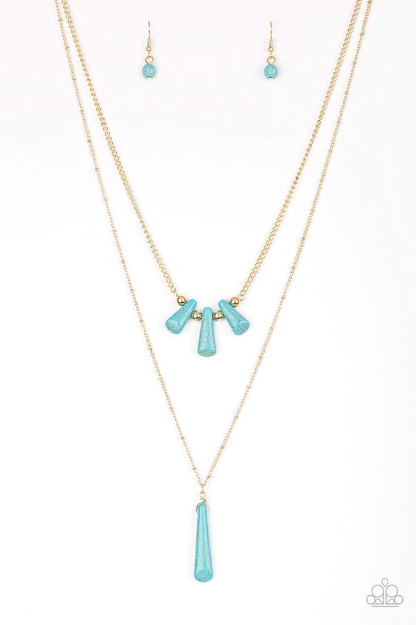 Jazzi Jewelz Boutique by Raven, Basic Groundwork- Turquoise Gold Chain Necklace and Earring Set