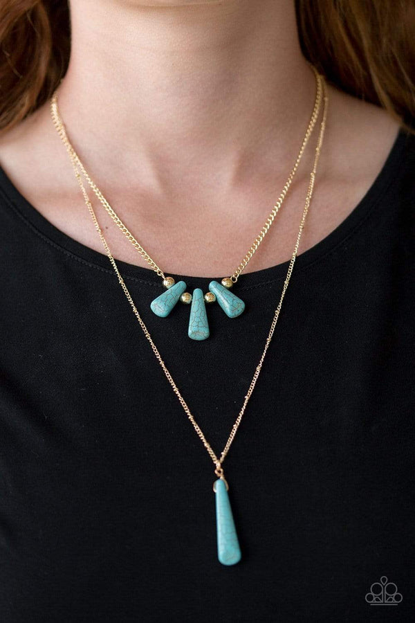 Jazzi Jewelz Boutique-Basic Groundwork-Turquoise Gold Chain Necklace and Earring Set