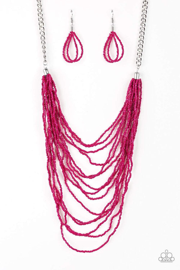 Jazzi Jewelz Boutique by Raven-Bora Bombora-Pink Seed Bead Silver Chain Necklace and Earring Set