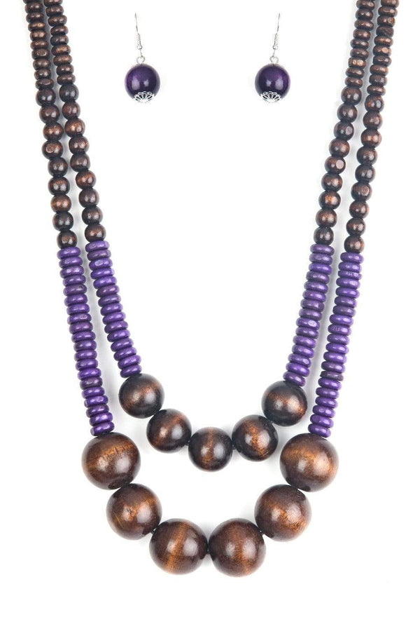 Jazzi Jewelz Boutique by Raven-Cancun Cast Away-Purple and Brown Wooden Bead Necklace and Earring Set
