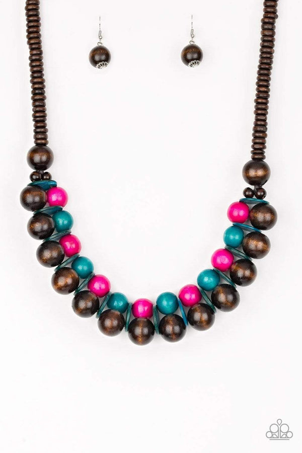 Jazzi Jewelz Boutique by Raven-Caribbean Cover Girl- Pink and Blue Bead Wooden Necklace and Earring Set