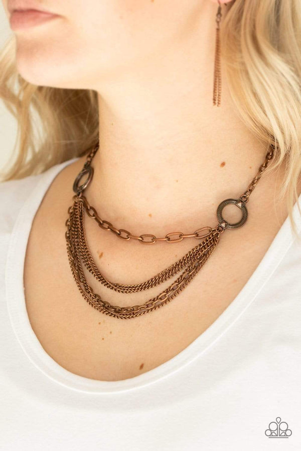 Jazzi Jewelz Boutique by Raven-Chains of Command- Copper Hoop Mismatched Chains Necklace and Earring Set