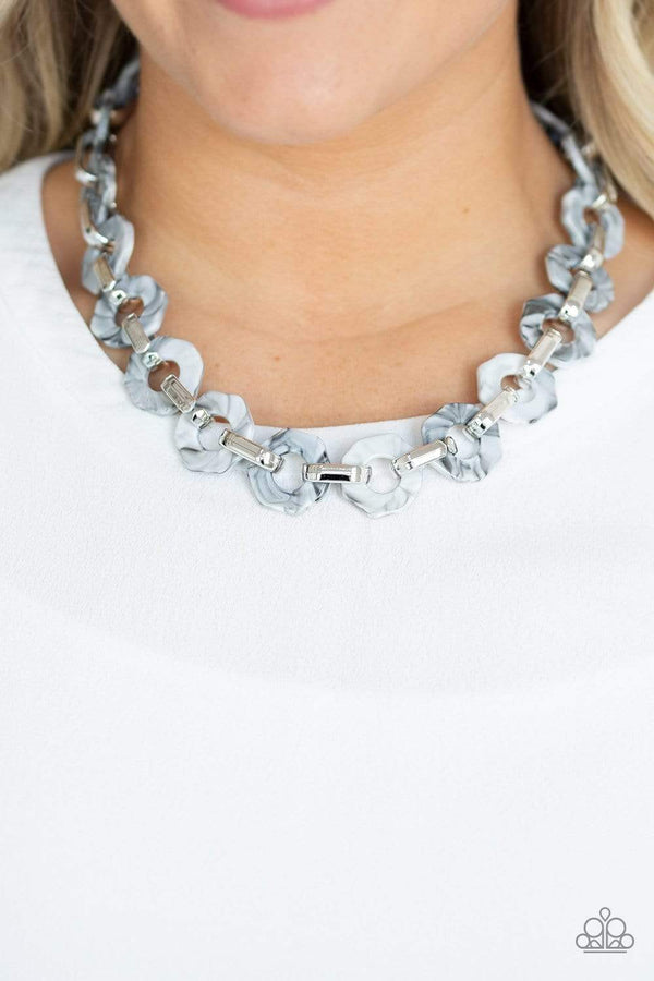 Paparazzi Accessories Jewelry Necklaces Paparazzi Accessories- Fashionista Fever-Silver Acrylic Necklace