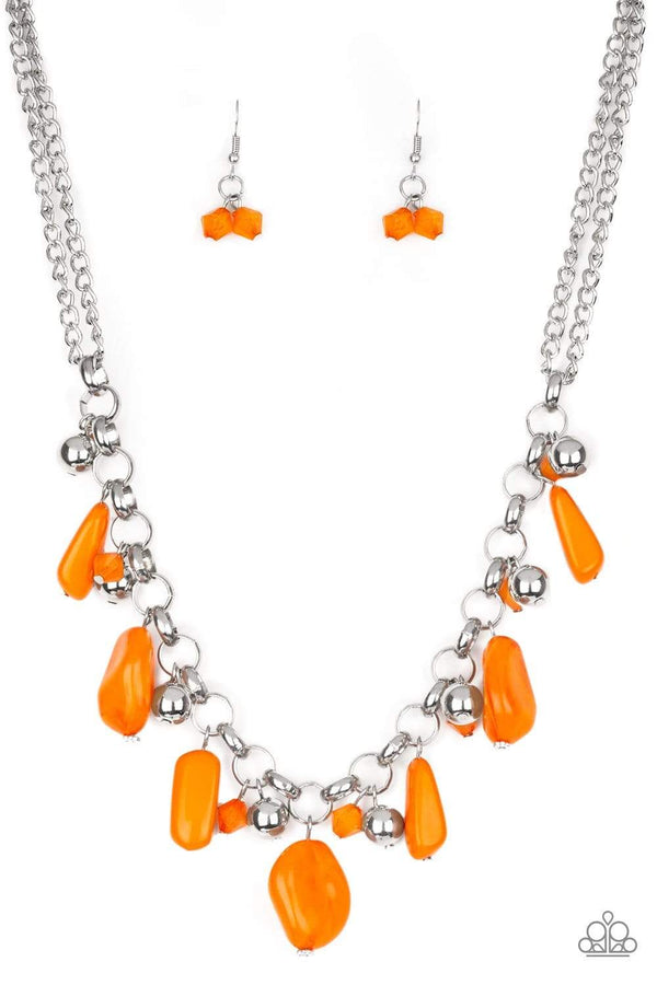 Paparazzi Accessories Jewelry Necklaces Paparazzi Accessories-Grand Canyon Grotto-Orange Necklace