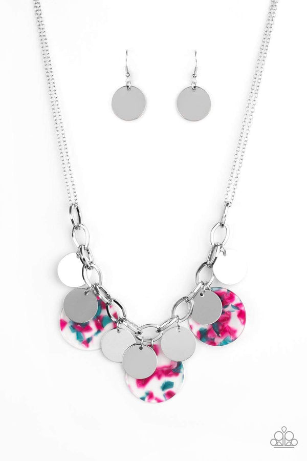 Jazzi Jewelz Boutique-Confetti Confection-Pink Acrylic Disc Silver Chain Necklace and Earring Set