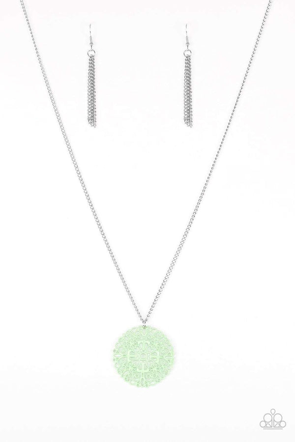 Jazzi Jewelz Boutique-Midsummer Musical-Green Filigree Pendant Silver Chain Necklace and Earring Set