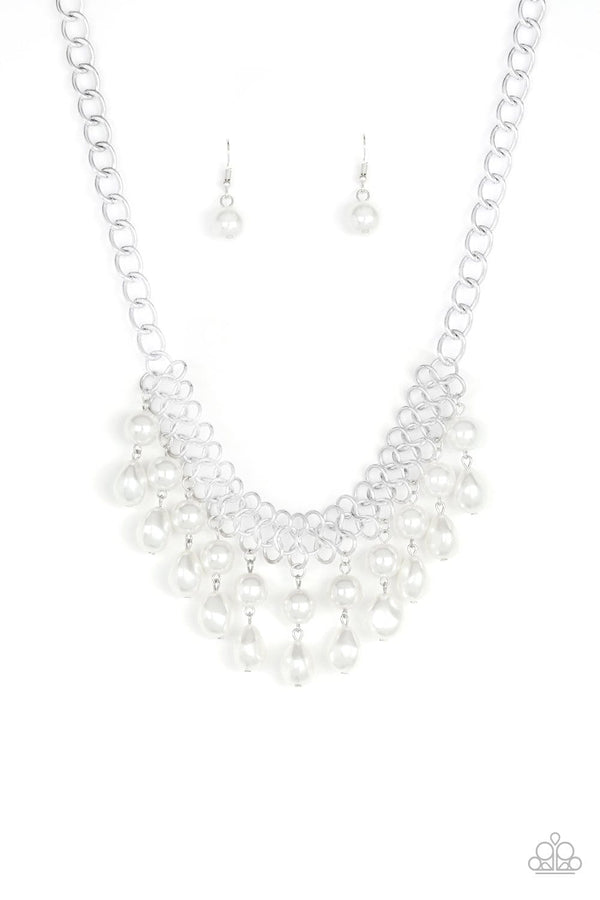 Jazzi Jewelz Boutique-5th Avenue Fleek-White Pearl Silver Chain Necklace and Earring Set