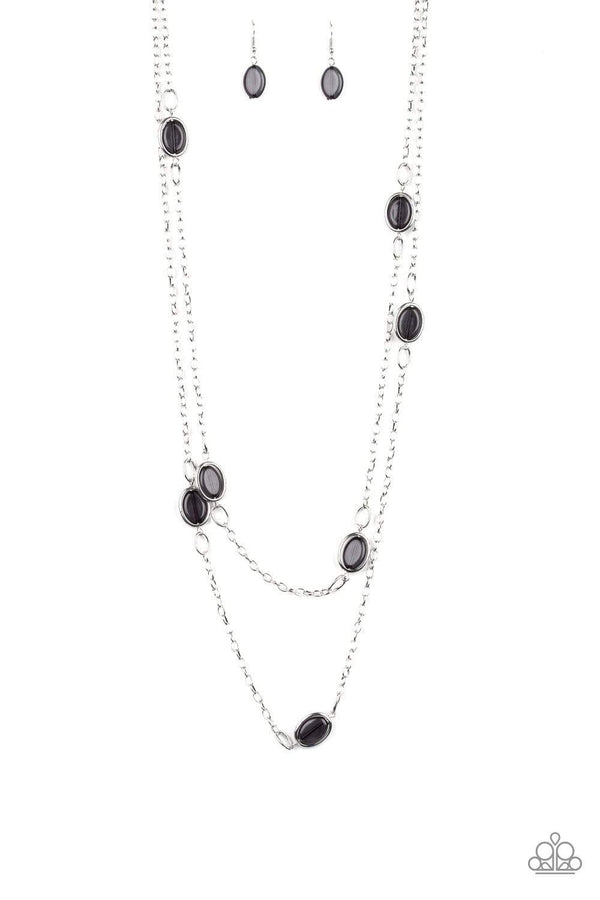 Jazzi Jewelz Boutique-Back For More-Black Beaded Silver Chain Necklace & Earring Set