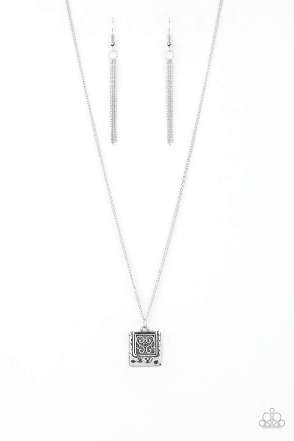 Paparazzi Accessories Jewelry Necklaces Paparazzi Accessories-Back To Square One-Silver Filigree Pendant Necklace and Earring Set