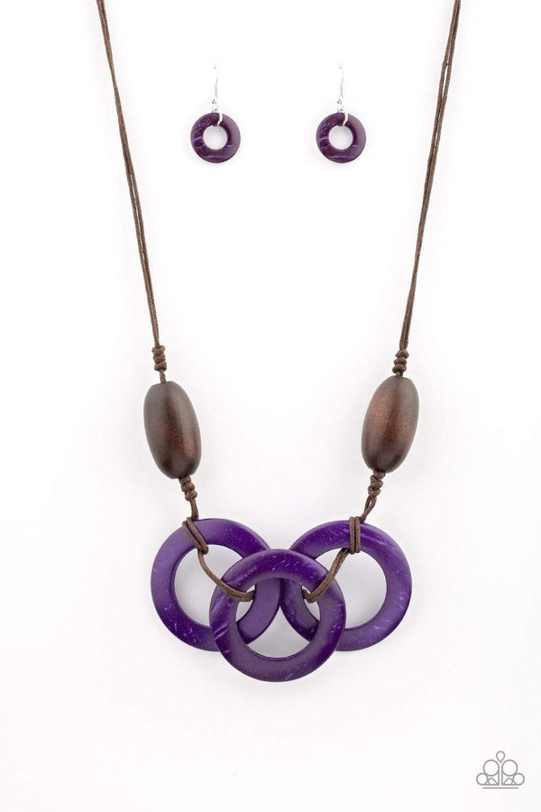 Jazzi Jewelz Boutique-Bahama Drama-Purple and Brown Wooden Bead Necklace and Earring Set