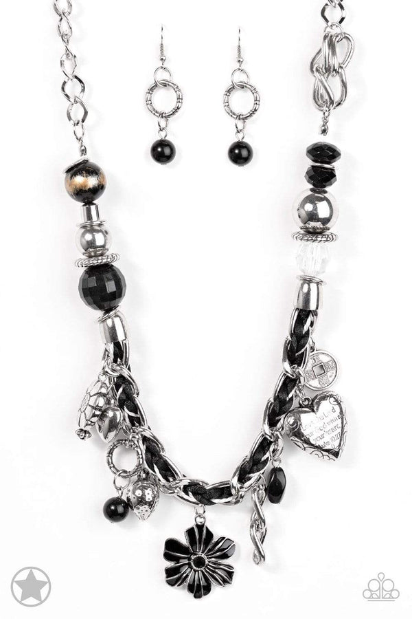 Jazzi Jewelz Boutique-Charmed, I Am Sure-Silver Chain Necklace and Earring Set