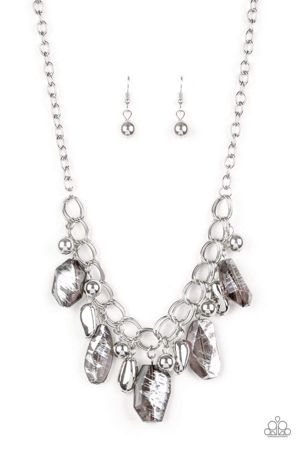Jazzi Jewelz Boutique-Chroma Drama-Black Metallic Beads Silver Chain Necklace and Earring Set