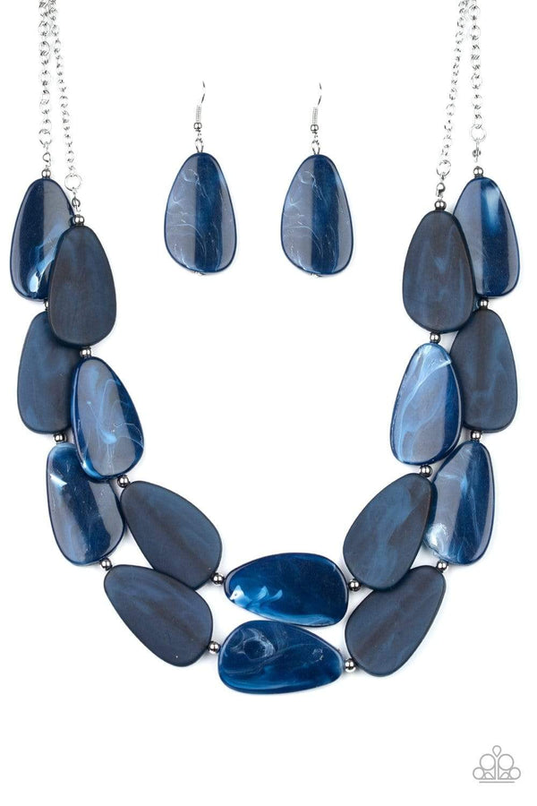 Jazzi Jewelz Boutique-Colorfully Calming-Blue Faux Marble Teardrop Invisible Wire Necklace and Earring Set