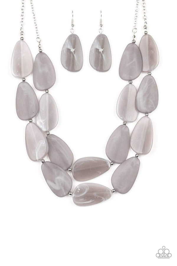 Paparazzi Accessories Jewelry Necklaces Paparazzi Accessories-Colorfully Calming-Silver Necklace & Earring Set