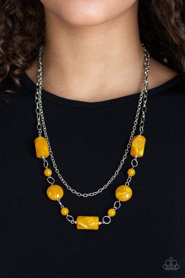 Colorfully Cosmopolitan- Yellow Acrylic Bead Silver Chain Necklace and Earring Set