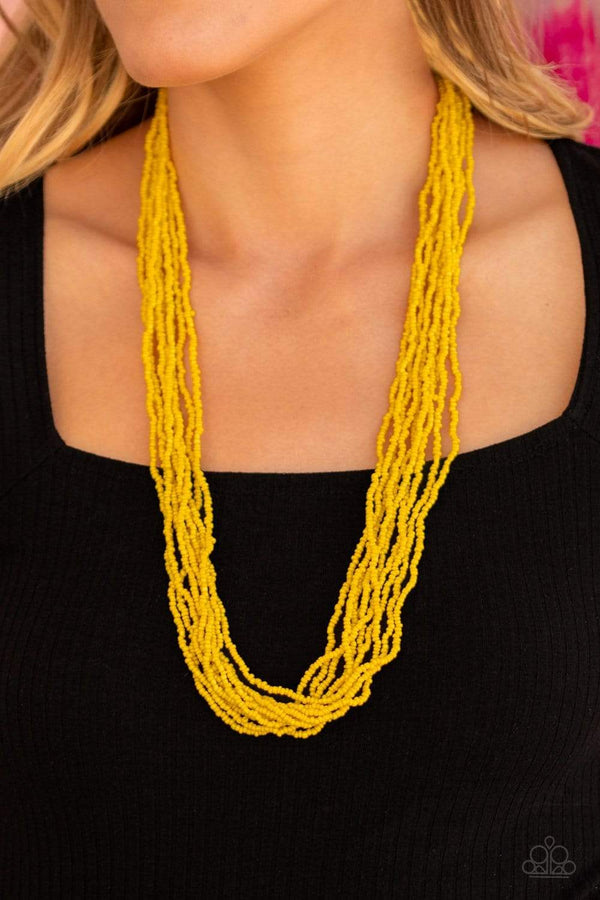 Jazzi Jewelz Boutique-Congo Colada-Yellow Seed Bead Necklace and Earring Set