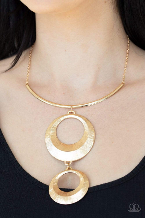 Jazzi Jewelz Boutique-Egyptian Eclipse-Gold Pendant Necklace and Earring Set