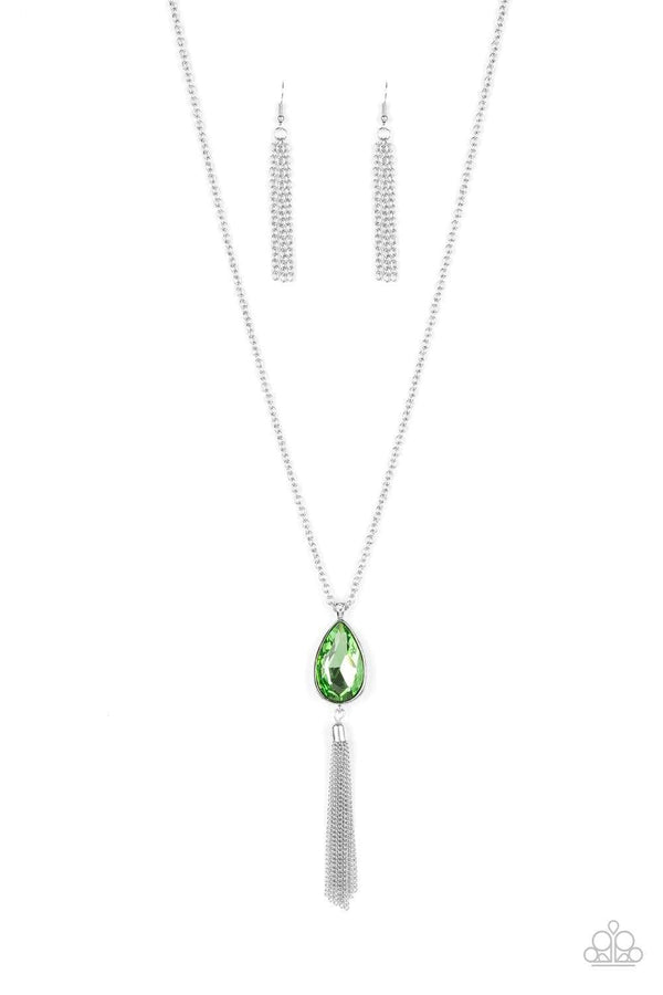Jazzi Jewelz Boutique-Elite Shine-Green Pendant Silver Chain Necklace and Earring Set
