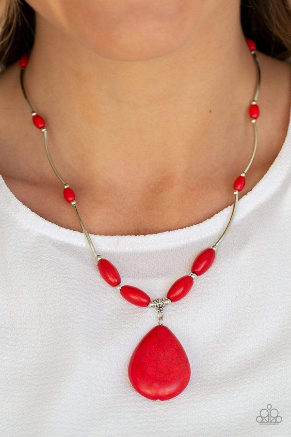Jazzi Jewelz Boutique-Explore the Elements-Red Stone Necklace and Earring Set