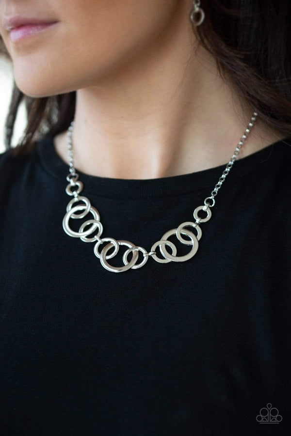 Jazzi Jewelz Boutique-Going In Circles-Silver Chain Necklace & Earring Set