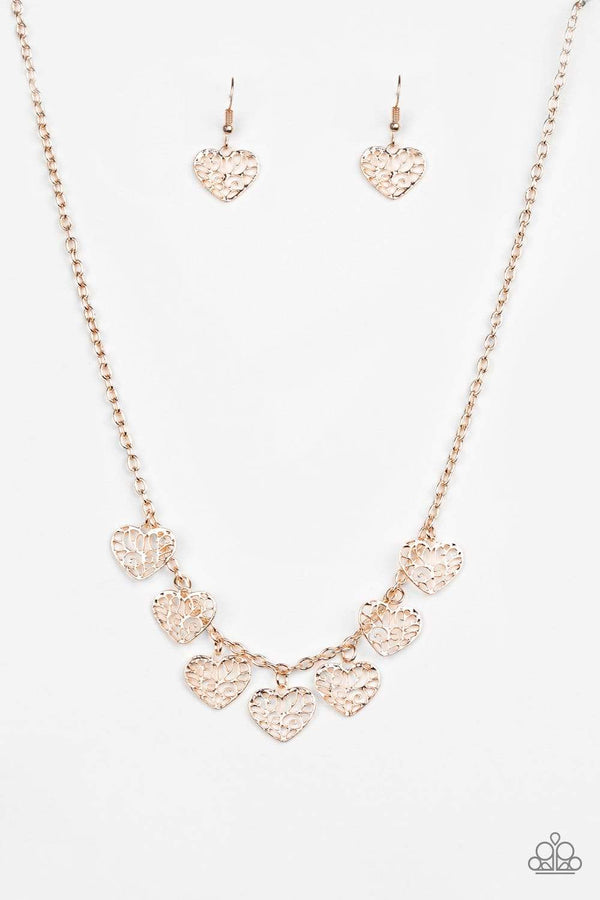 Paparazzi Accessories Jewelry Necklaces Paparazzi Accessories-Less is Amour-Rose Gold Necklace Set